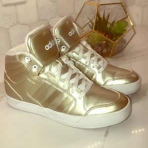 Adidas metallic gold high top sneaker